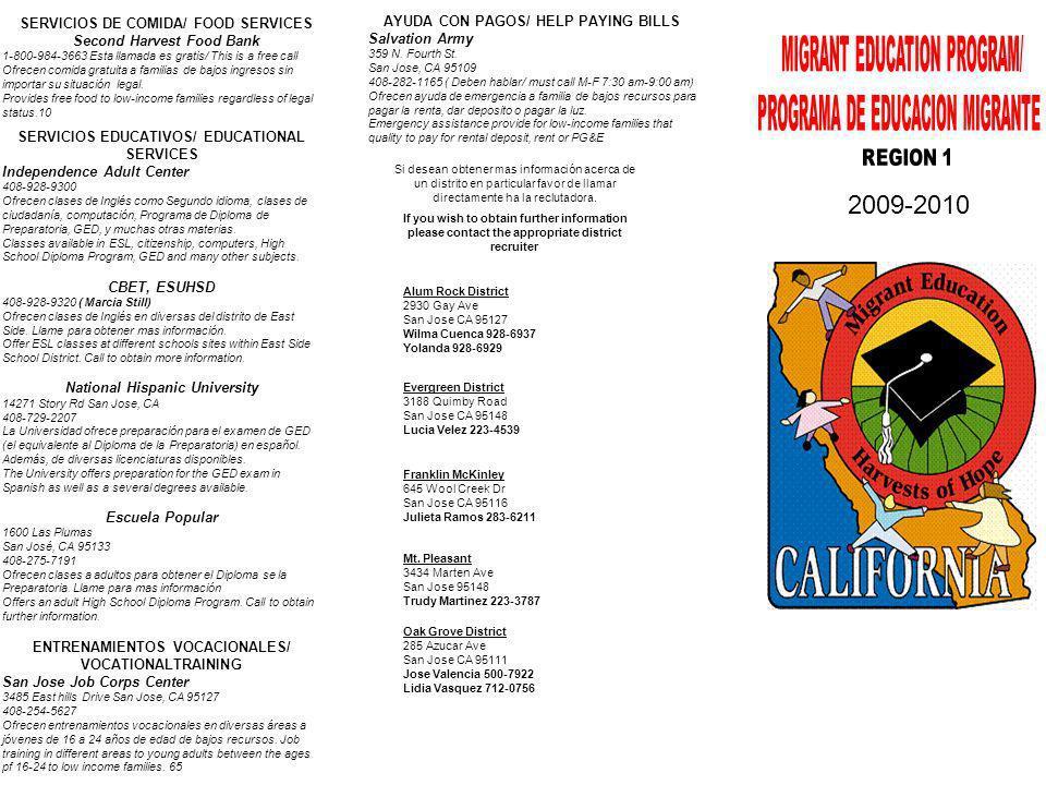 2009-2010 MIGRANT EDUCATION PROGRAM/ PROGRAMA DE EDUCACION MIGRANTE