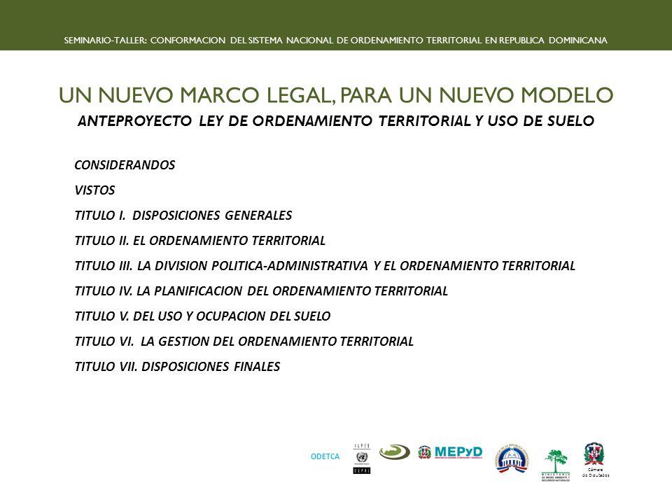 ANTEPROYECTO LEY DE ORDENAMIENTO TERRITORIAL Y USO DE SUELO