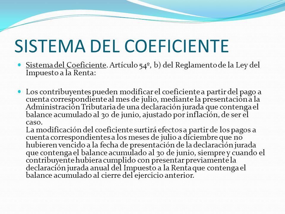 SISTEMA DEL COEFICIENTE