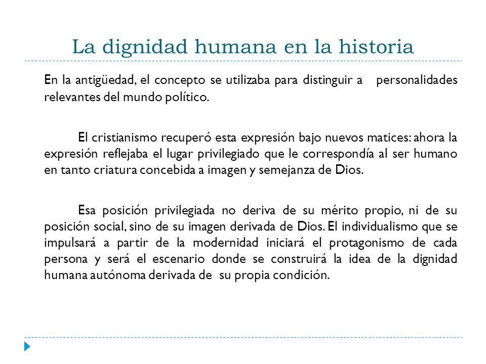 La dignidad humana en la historia