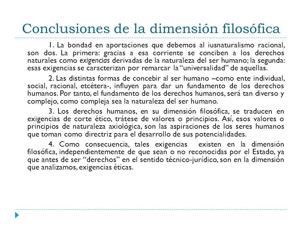 Conclusiones de la dimensión filosófica