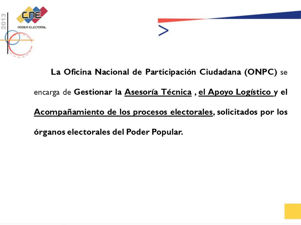 La Oficina Nacional de Participación Ciudadana (ONPC) se encarga de Gestionar la Asesoría Técnica , el Apoyo Logístico y el Acompañamiento de los procesos electorales, solicitados por los órganos electorales del Poder Popular.