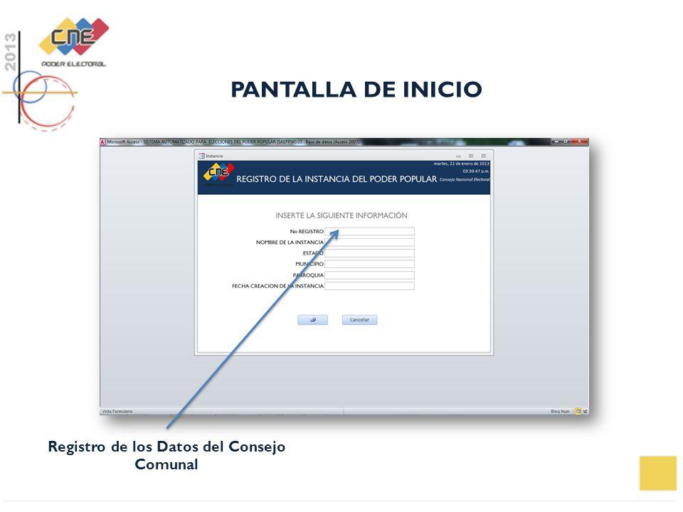 Registro de los Datos del Consejo Comunal