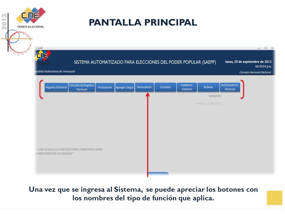 PANTALLA PRINCIPAL Una vez que se ingresa al Sistema, se puede apreciar los botones con los nombres del tipo de función que aplica.