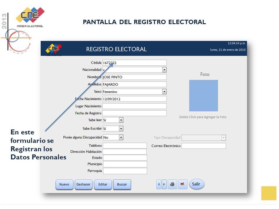 PANTALLA DEL REGISTRO ELECTORAL