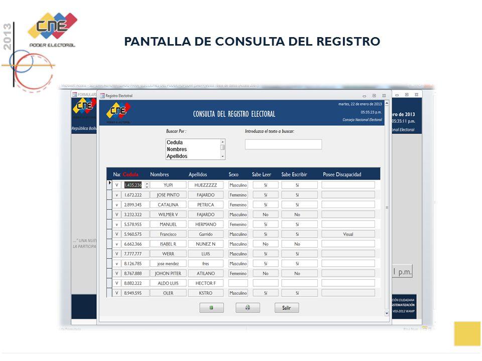 PANTALLA DE CONSULTA DEL REGISTRO