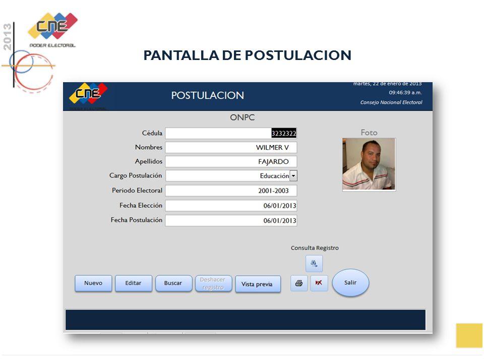 PANTALLA DE POSTULACION