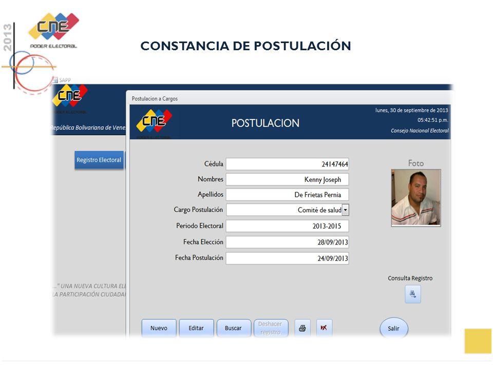 CONSTANCIA DE POSTULACIÓN