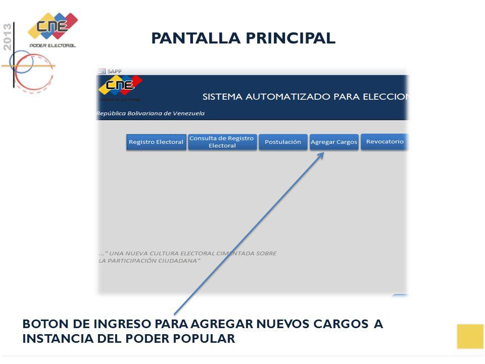 PANTALLA PRINCIPAL BOTON DE INGRESO PARA AGREGAR NUEVOS CARGOS A INSTANCIA DEL PODER POPULAR