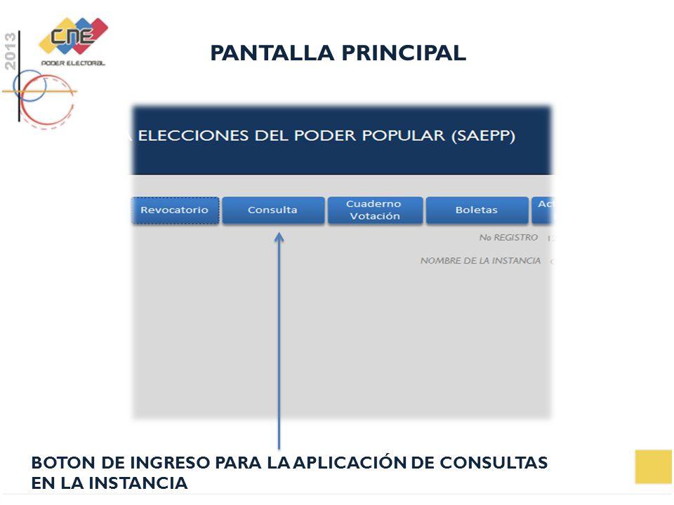 PANTALLA PRINCIPAL BOTON DE INGRESO PARA LA APLICACIÓN DE CONSULTAS EN LA INSTANCIA