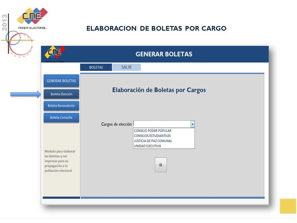 ELABORACION DE BOLETAS POR CARGO