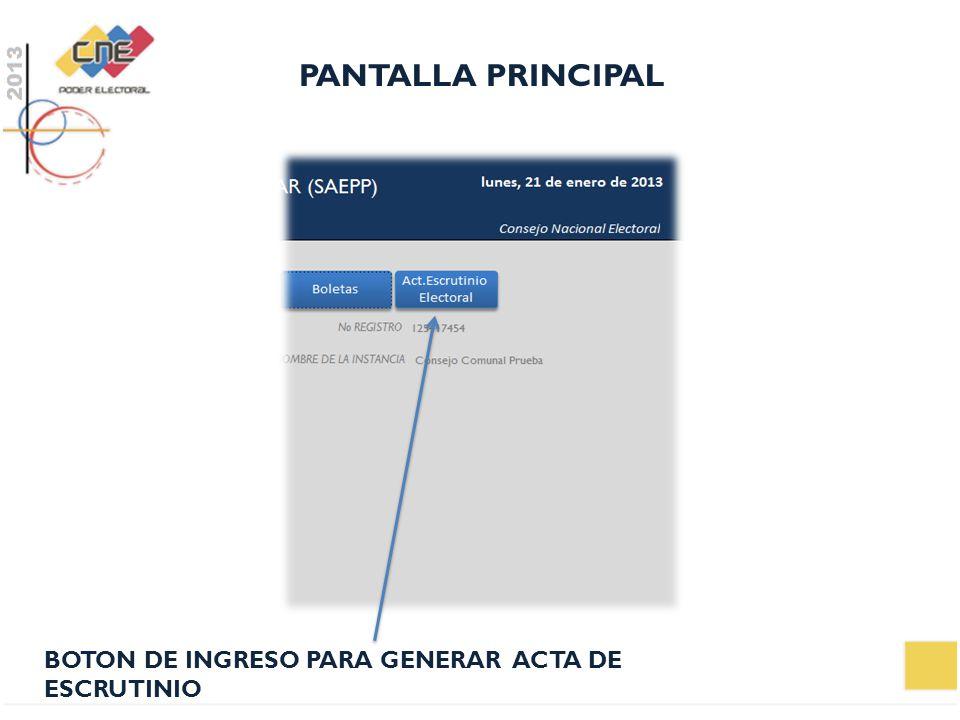 PANTALLA PRINCIPAL BOTON DE INGRESO PARA GENERAR ACTA DE ESCRUTINIO