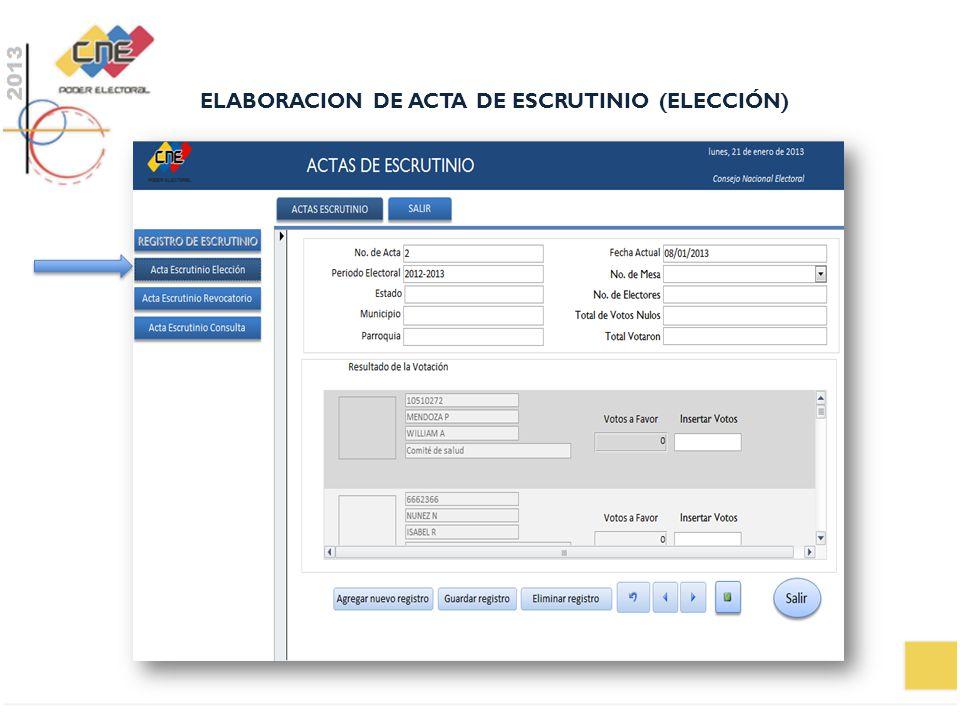 ELABORACION DE ACTA DE ESCRUTINIO (ELECCIÓN)