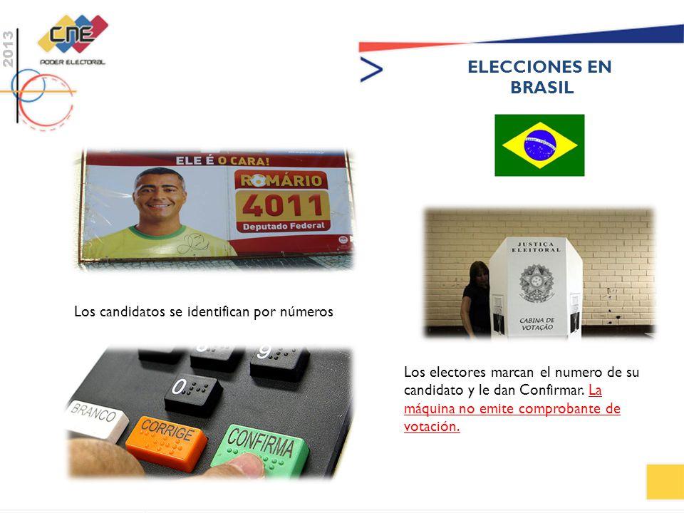 ELECCIONES EN BRASIL Los candidatos se identifican por números