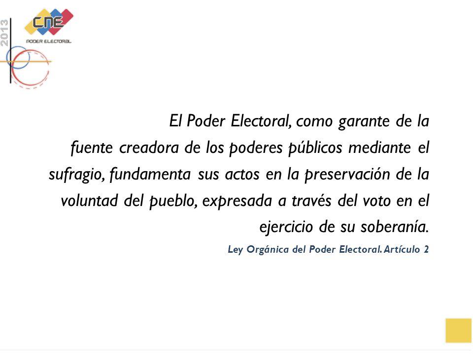 El Poder Electoral, como garante de la fuente creadora de los poderes públicos mediante el sufragio, fundamenta sus actos en la preservación de la voluntad del pueblo, expresada a través del voto en el ejercicio de su soberanía.