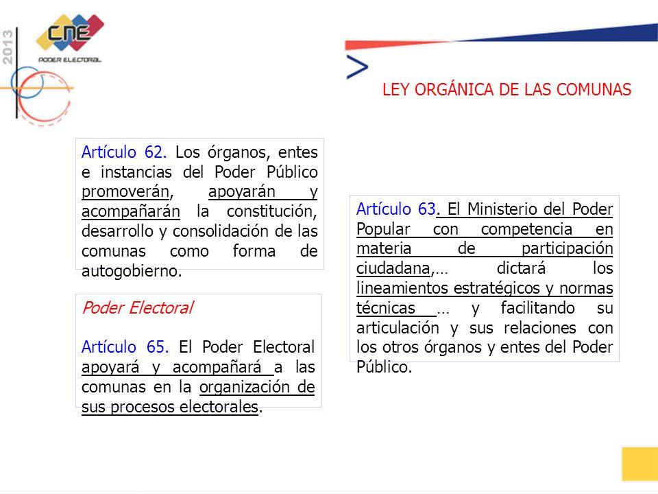 Poder Electoral Artículo 65. El Poder Electoral apoyará y acompañará a las comunas en la organización de sus procesos electorales.