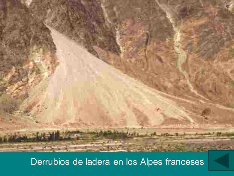 Derrubios de ladera en los Alpes franceses