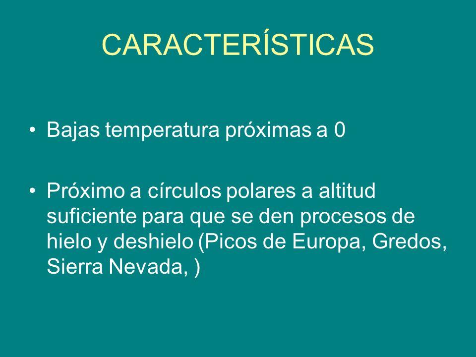 CARACTERÍSTICAS Bajas temperatura próximas a 0