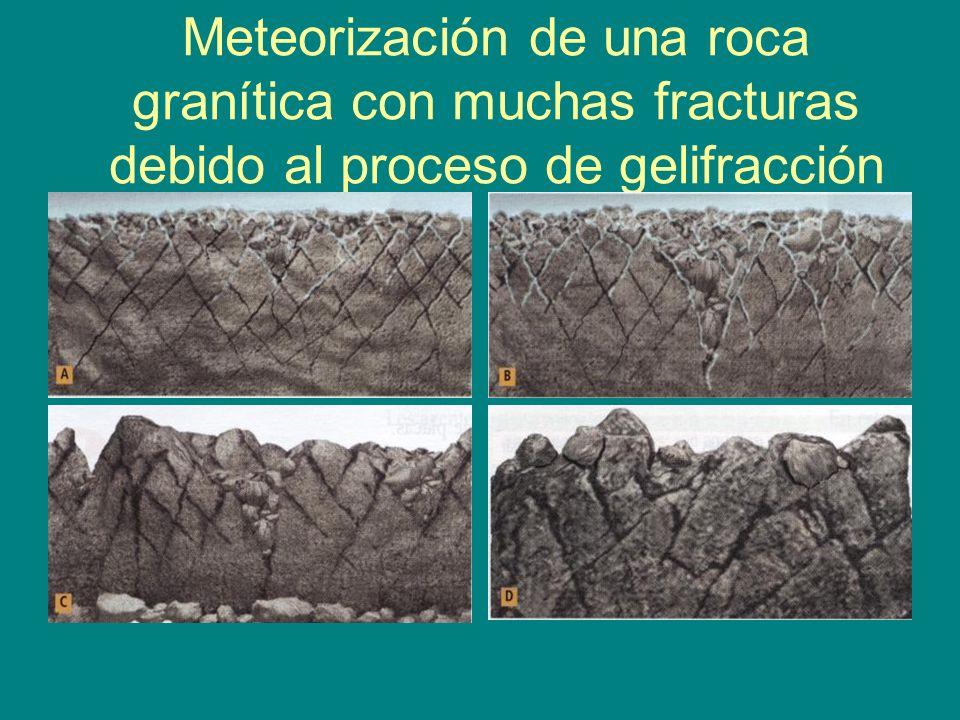 Meteorización de una roca granítica con muchas fracturas debido al proceso de gelifracción