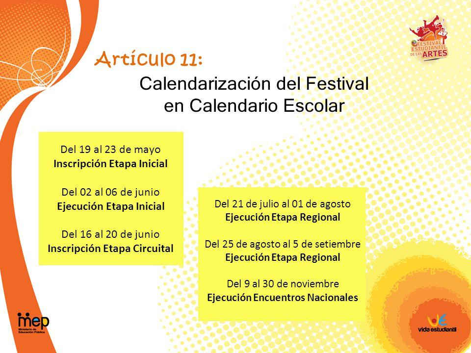 Calendarización del Festival en Calendario Escolar