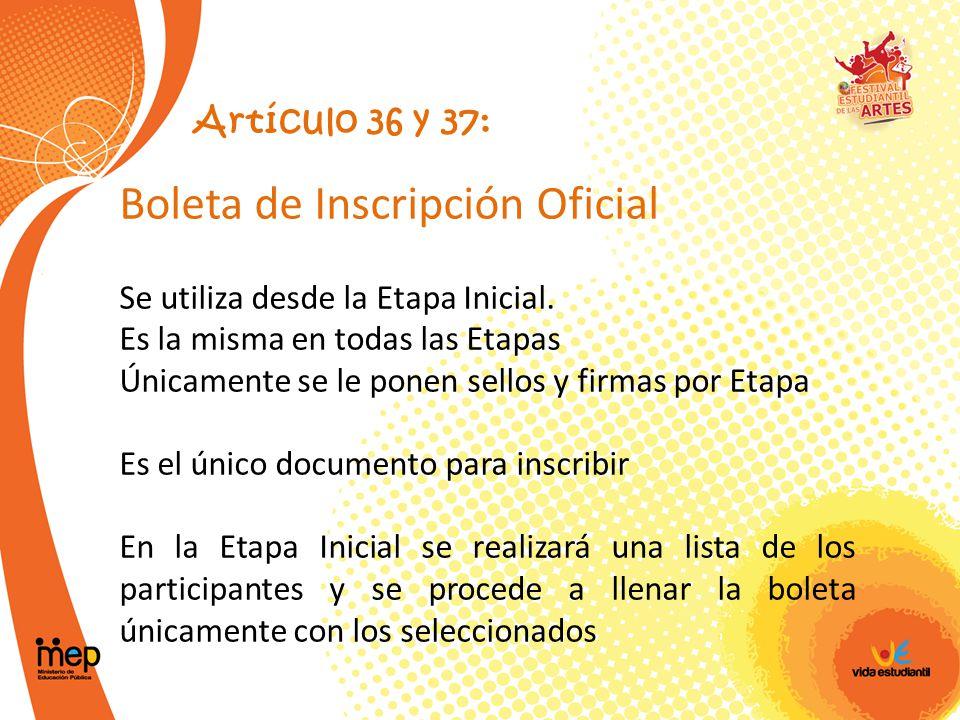 Boleta de Inscripción Oficial