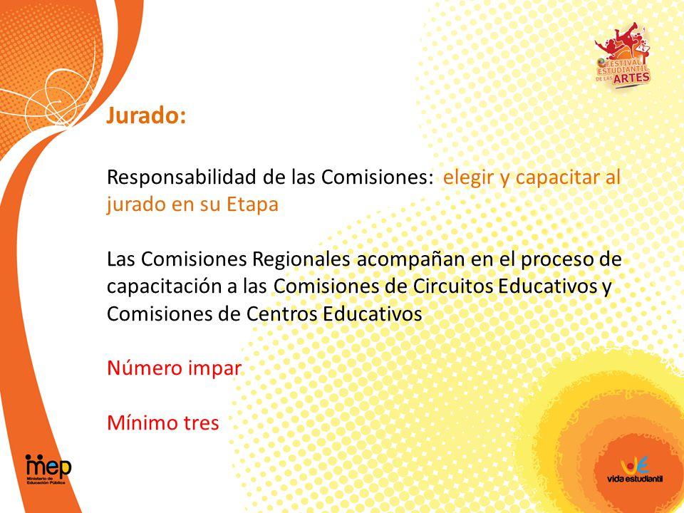 Jurado: Responsabilidad de las Comisiones: elegir y capacitar al jurado en su Etapa.