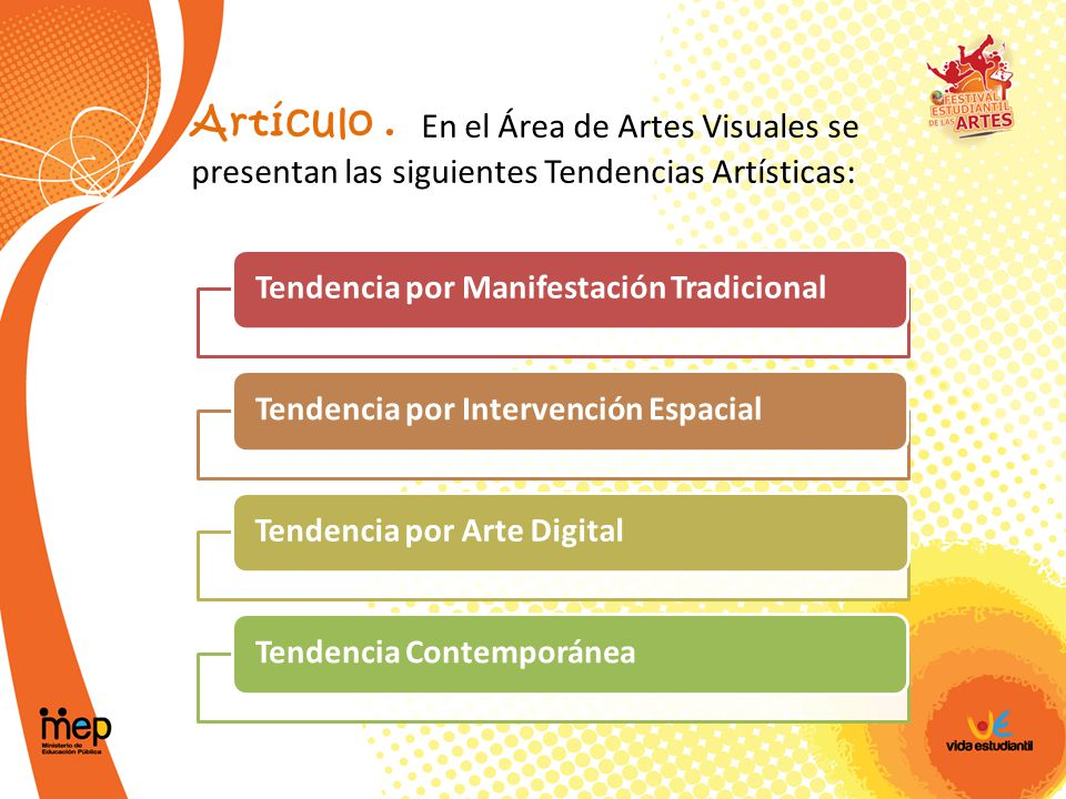 Artículo . En el Área de Artes Visuales se presentan las siguientes Tendencias Artísticas: