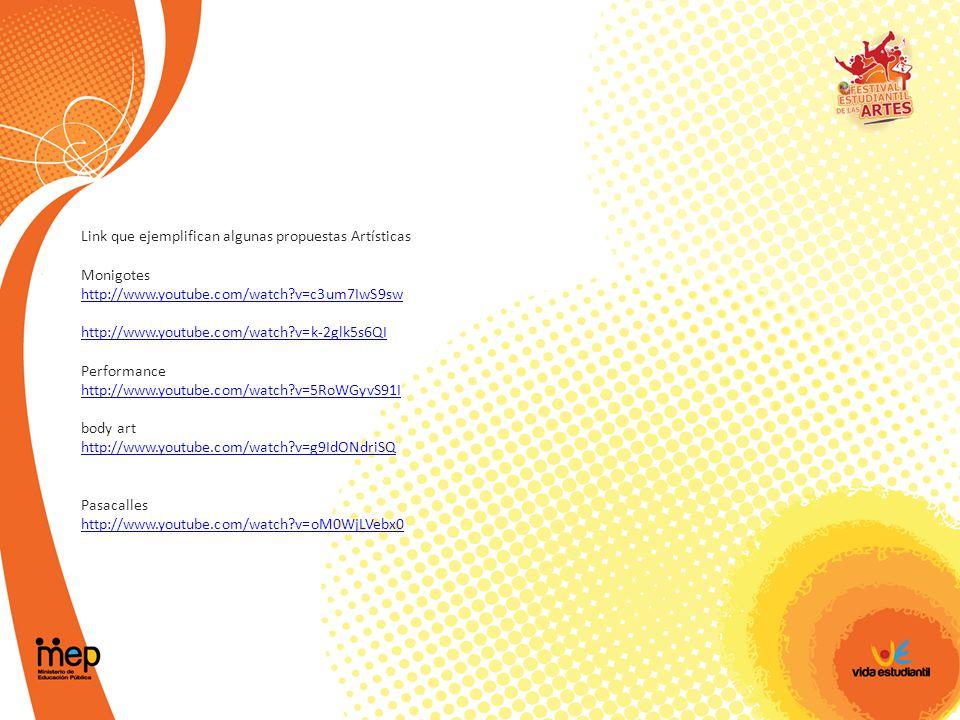Link que ejemplifican algunas propuestas Artísticas