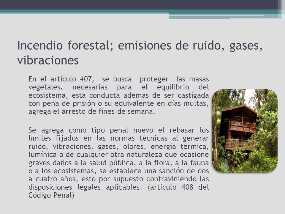 Incendio forestal; emisiones de ruido, gases, vibraciones