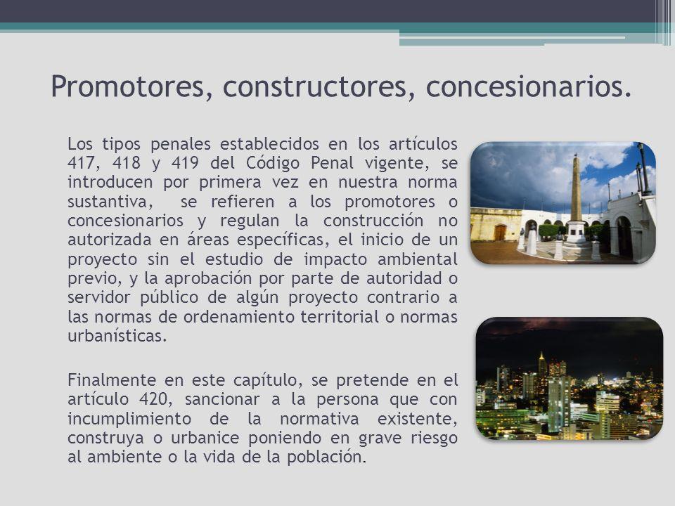 Promotores, constructores, concesionarios.
