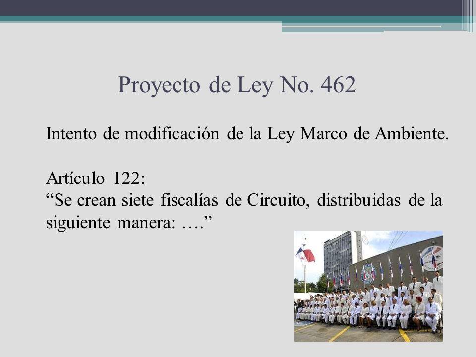 Proyecto de Ley No. 462 Intento de modificación de la Ley Marco de Ambiente. Artículo 122: