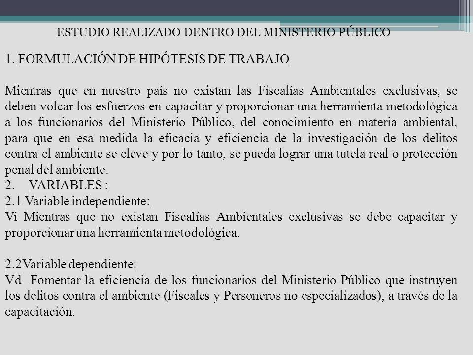 1. FORMULACIÓN DE HIPÓTESIS DE TRABAJO