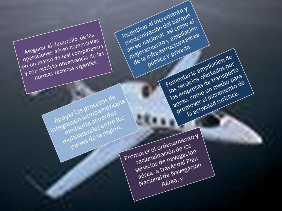 Incentivar el incremento y modernización del parque aéreo nacional, así como el mejoramiento y ampliación de la infraestructura aérea pública y privada.