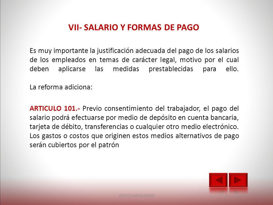 VII- SALARIO Y FORMAS DE PAGO
