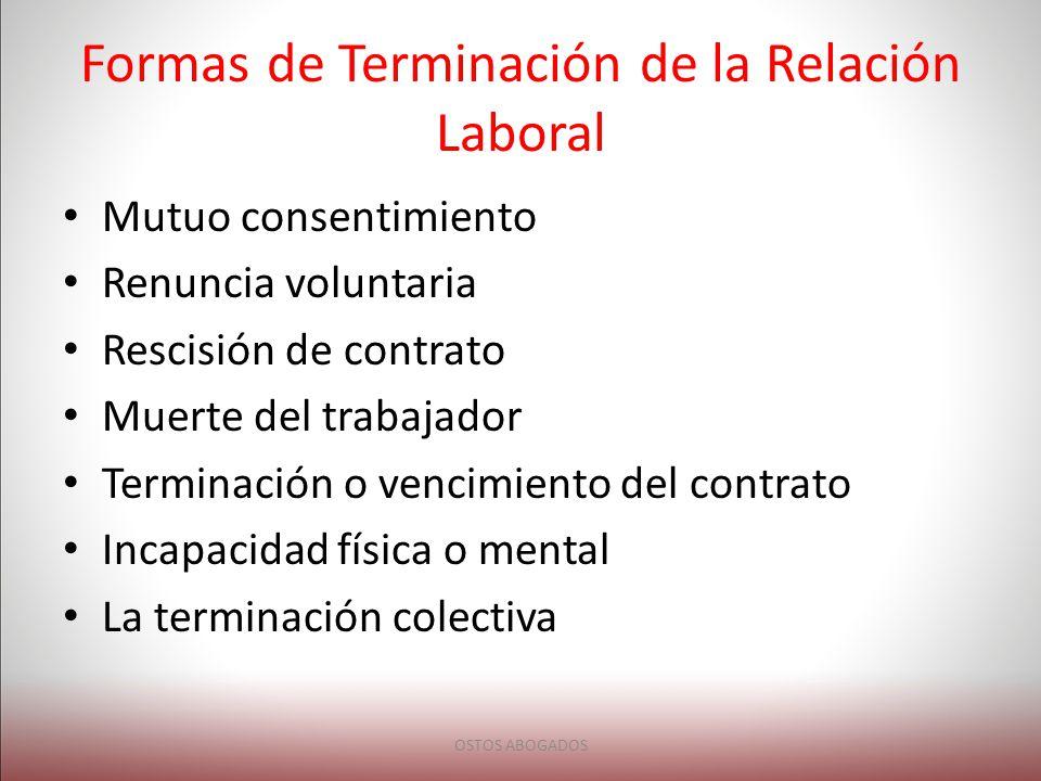 Formas de Terminación de la Relación Laboral