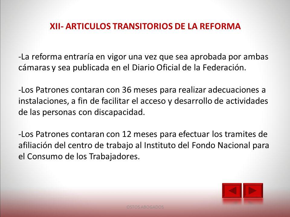 XII- ARTICULOS TRANSITORIOS DE LA REFORMA