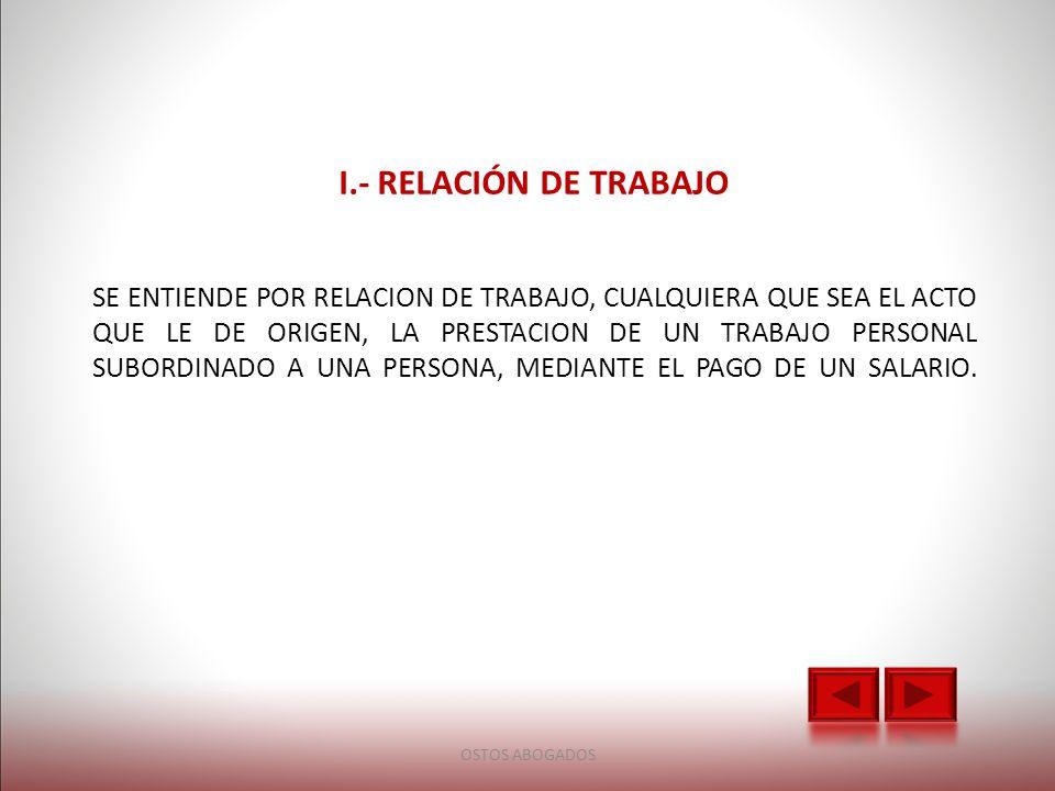 I.- RELACIÓN DE TRABAJO