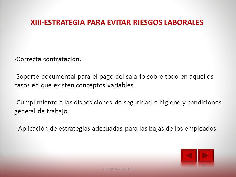XIII-ESTRATEGIA PARA EVITAR RIESGOS LABORALES