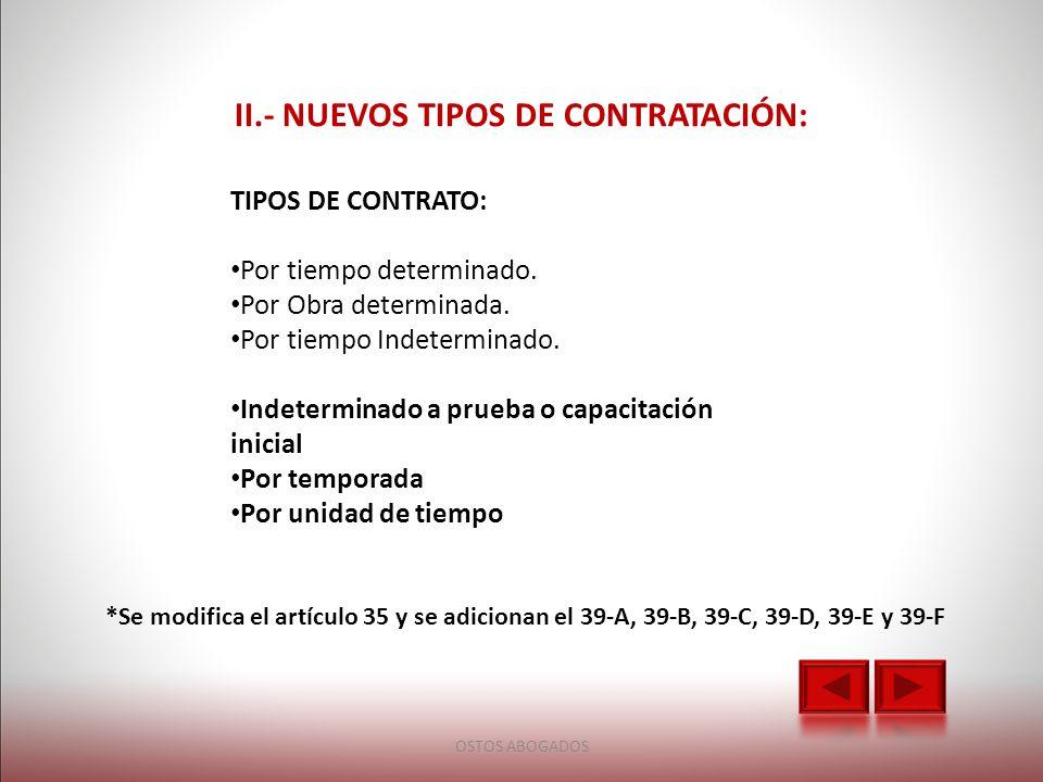 II.- NUEVOS TIPOS DE CONTRATACIÓN: