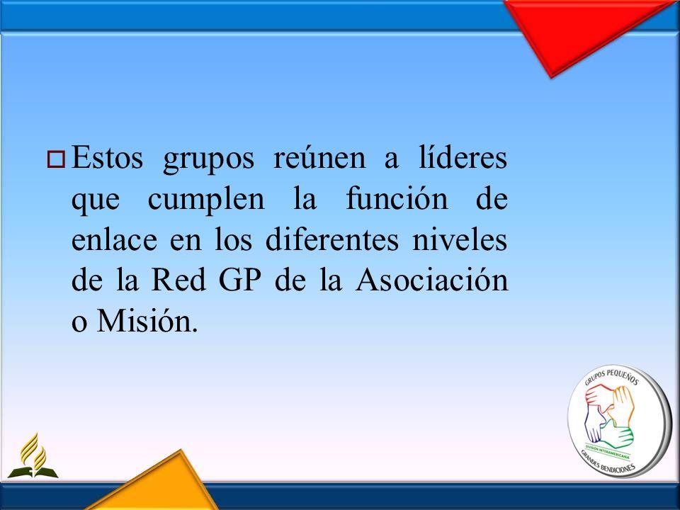 Estos grupos reúnen a líderes que cumplen la función de enlace en los diferentes niveles de la Red GP de la Asociación o Misión.