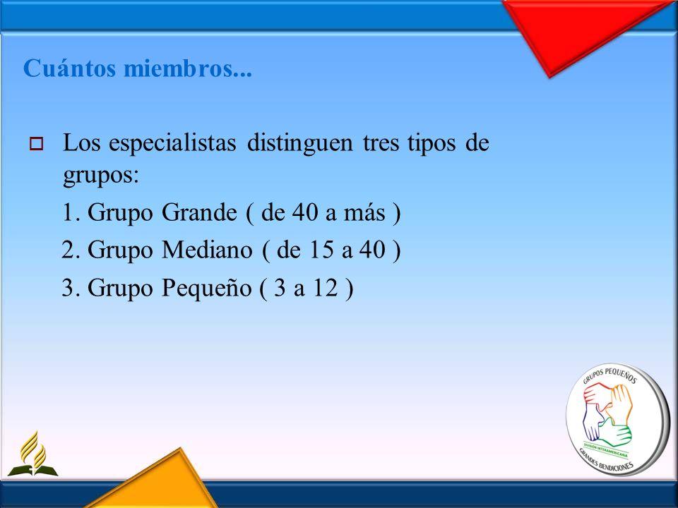 Cuántos miembros...Los especialistas distinguen tres tipos de grupos: 1. Grupo Grande ( de 40 a más )