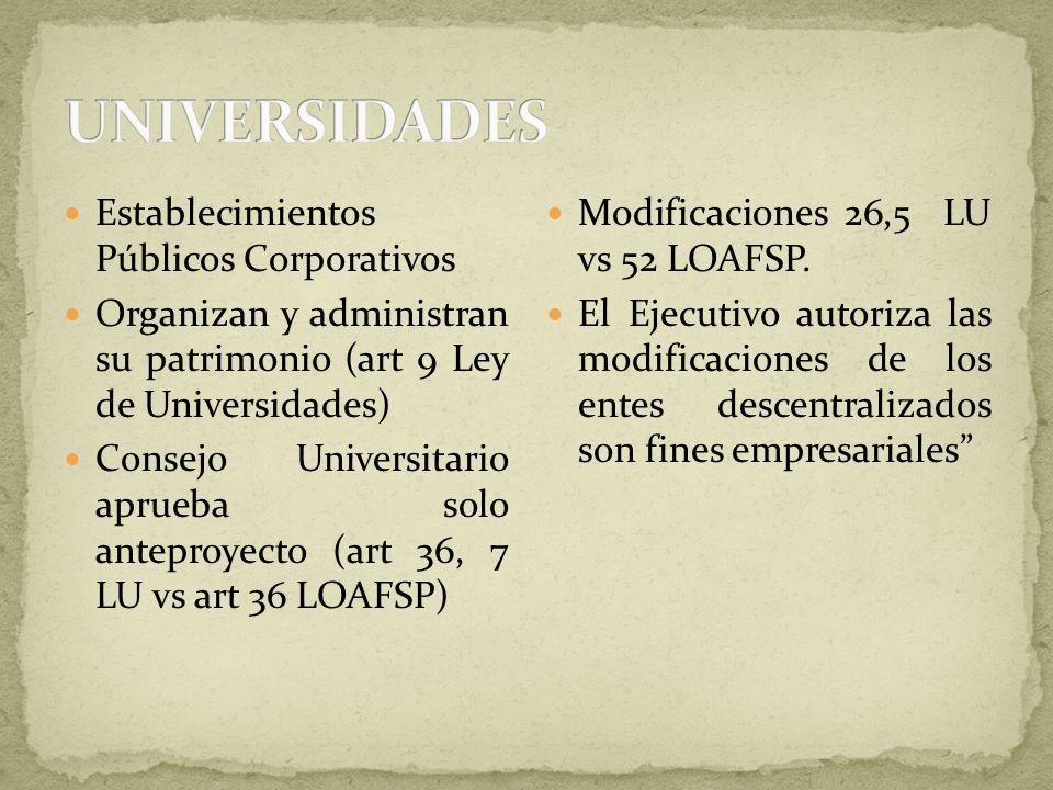 UNIVERSIDADES Establecimientos Públicos Corporativos