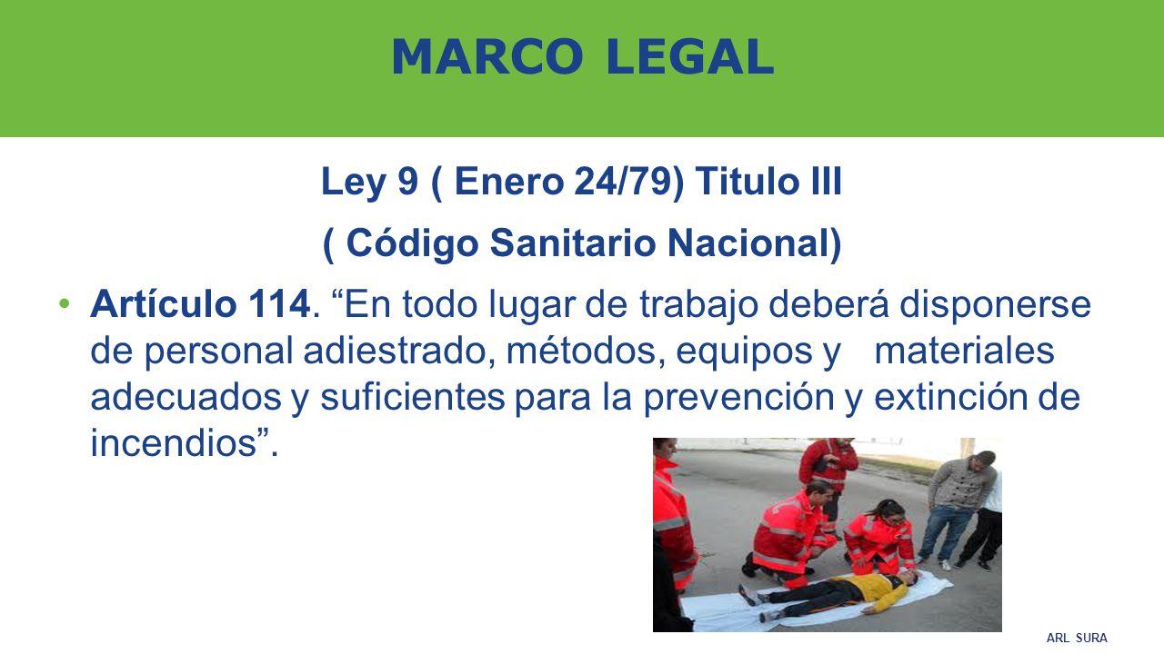 Ley 9 ( Enero 24/79) Titulo III ( Código Sanitario Nacional)