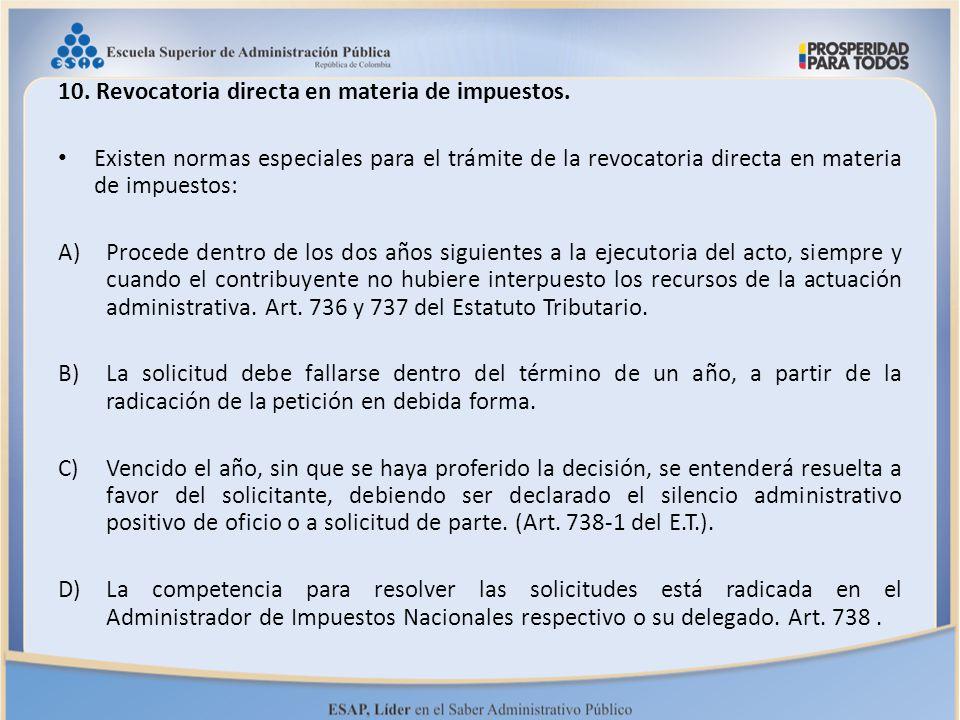 10. Revocatoria directa en materia de impuestos.