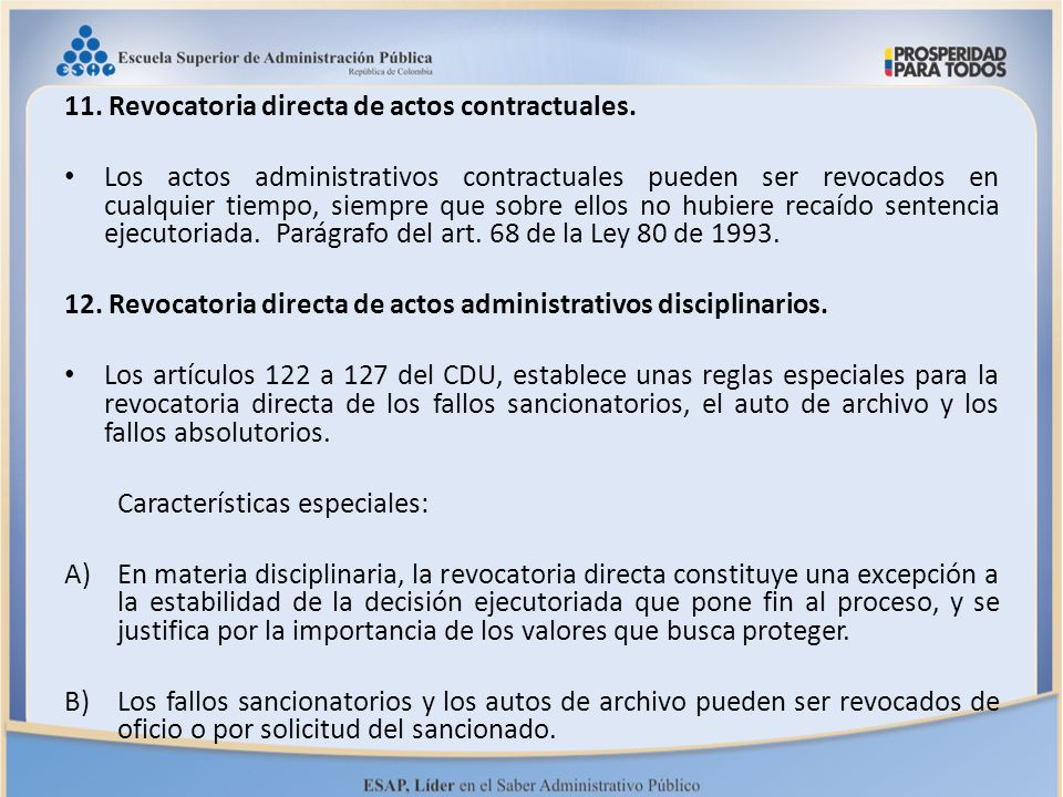 11. Revocatoria directa de actos contractuales.