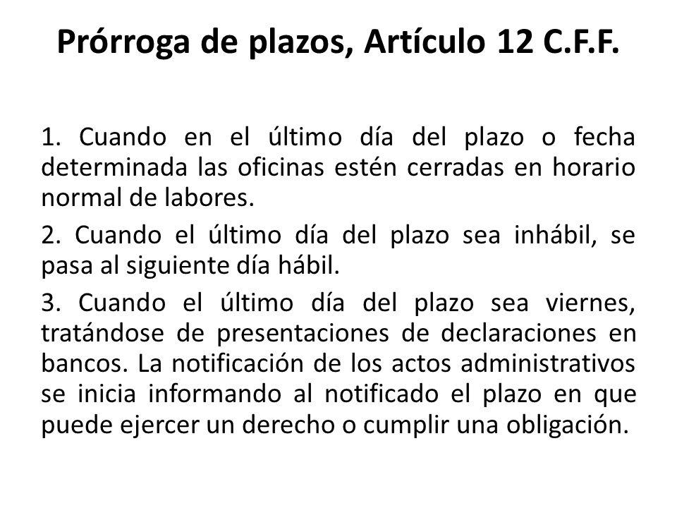 Prórroga de plazos, Artículo 12 C.F.F.