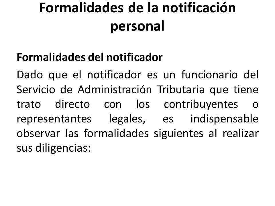 Formalidades de la notificación personal