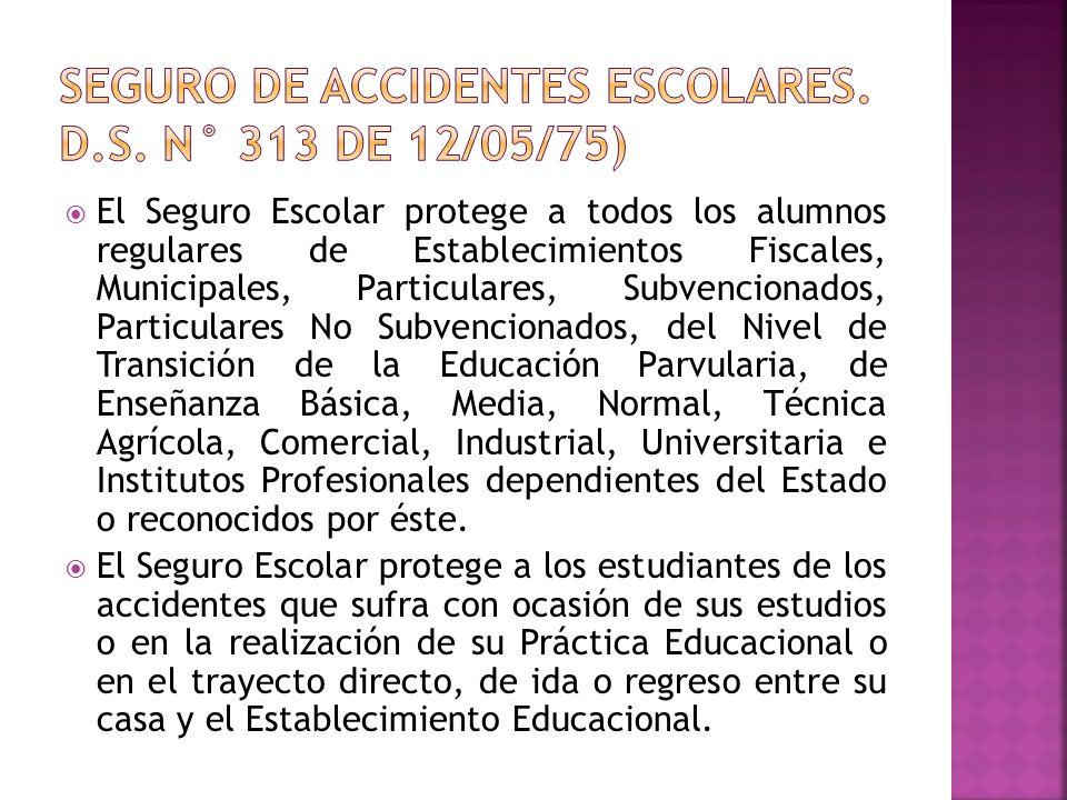 Seguro de accidentes escolares. D.S. N° 313 de 12/05/75)