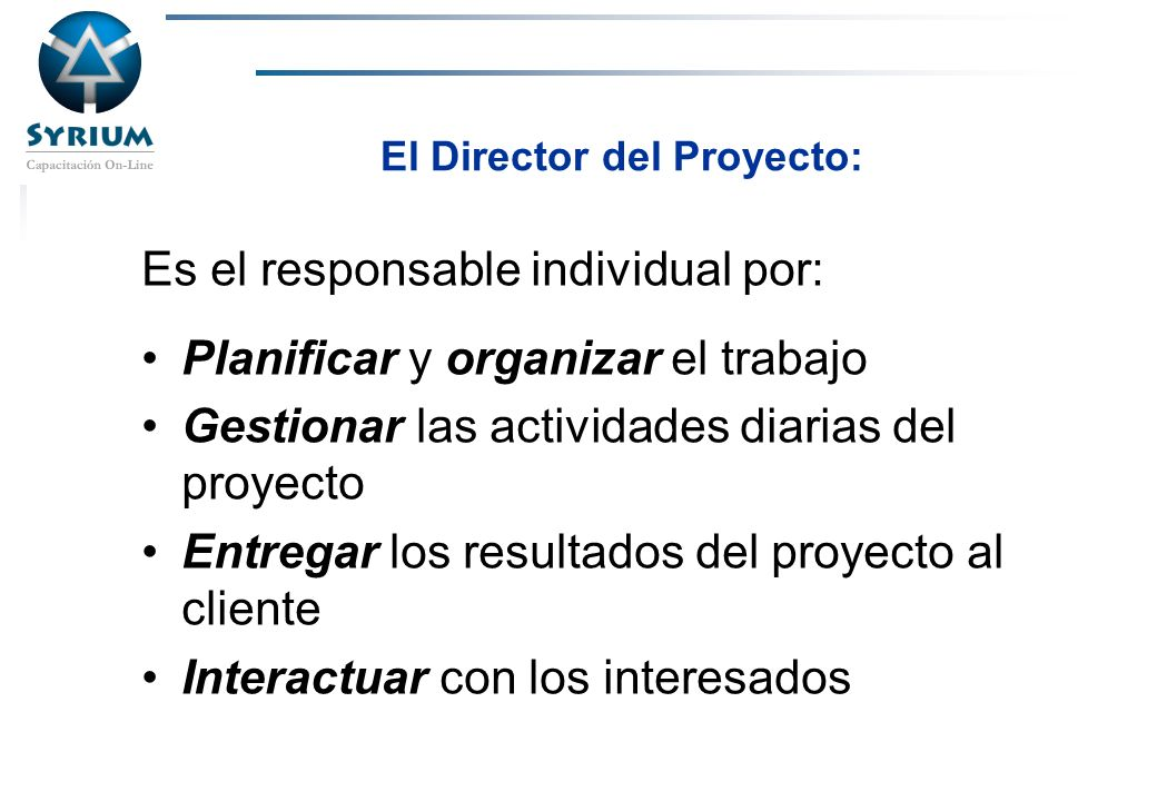 El Director del Proyecto: