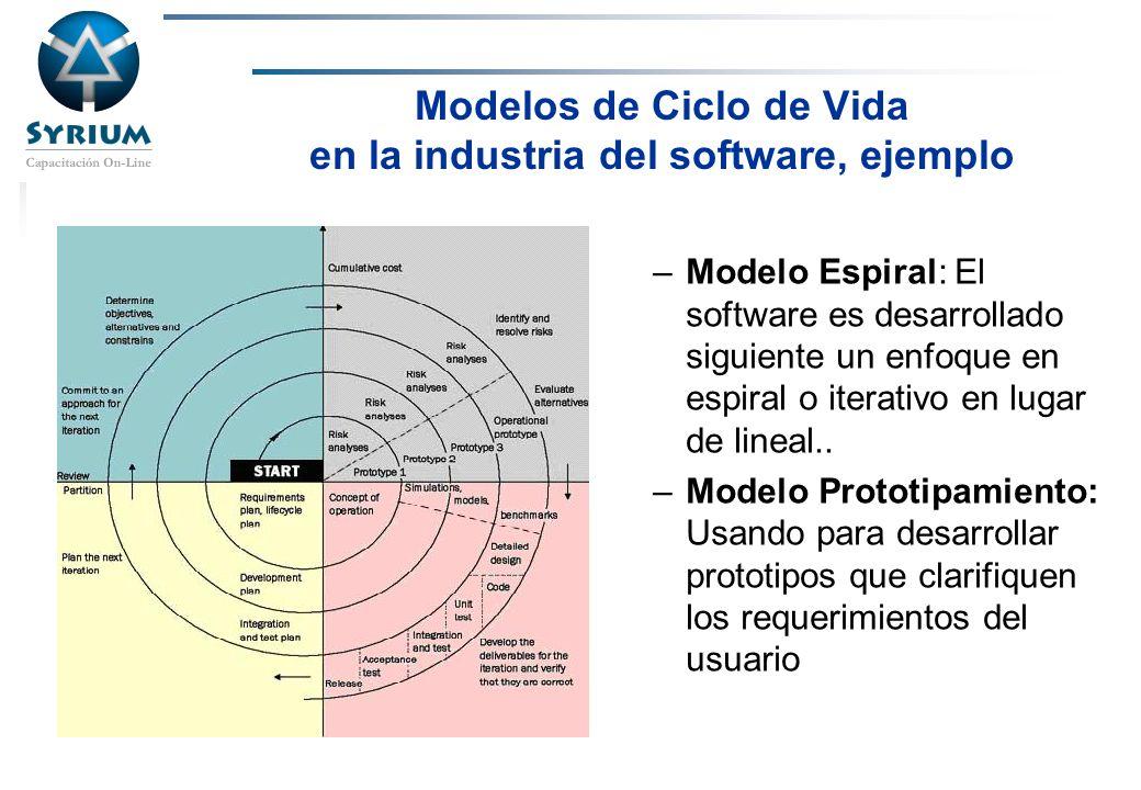 Modelos de Ciclo de Vida en la industria del software, ejemplo